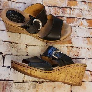 BOC Leather Wedge Sandals